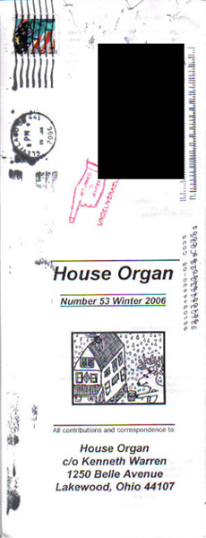 House Organ #53, back cover